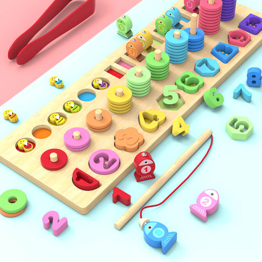 4 in 1 Wooden Rainbow Stacking Fishing Number Puzzle