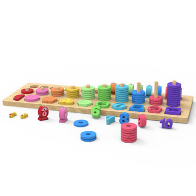 4 in 1 Wooden Rainbow Stacking Fishing Number Puzzle4