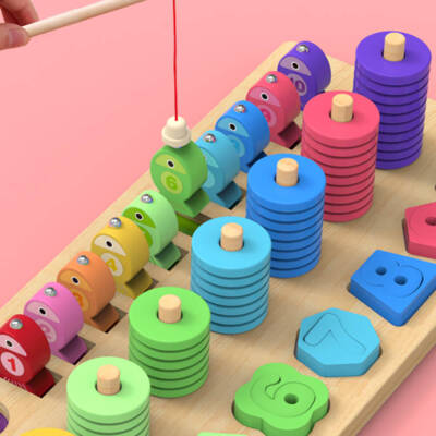 4 in 1 Wooden Rainbow Stacking Fishing Number Puzzle6