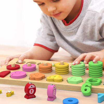 4 in 1 Wooden Rainbow Stacking Fishing Number Puzzle2