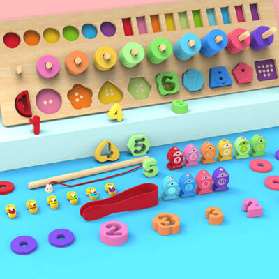 4 in 1 Wooden Rainbow Stacking Fishing Number Puzzle3